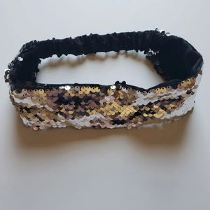 Black And Silver Sequin Headband